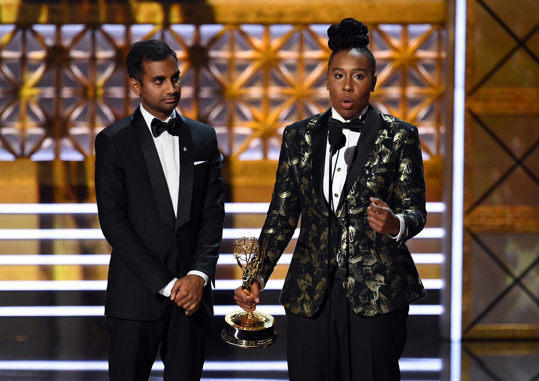 Aziz Ansari and Lena Waithe at the 2017 Emmy Awards