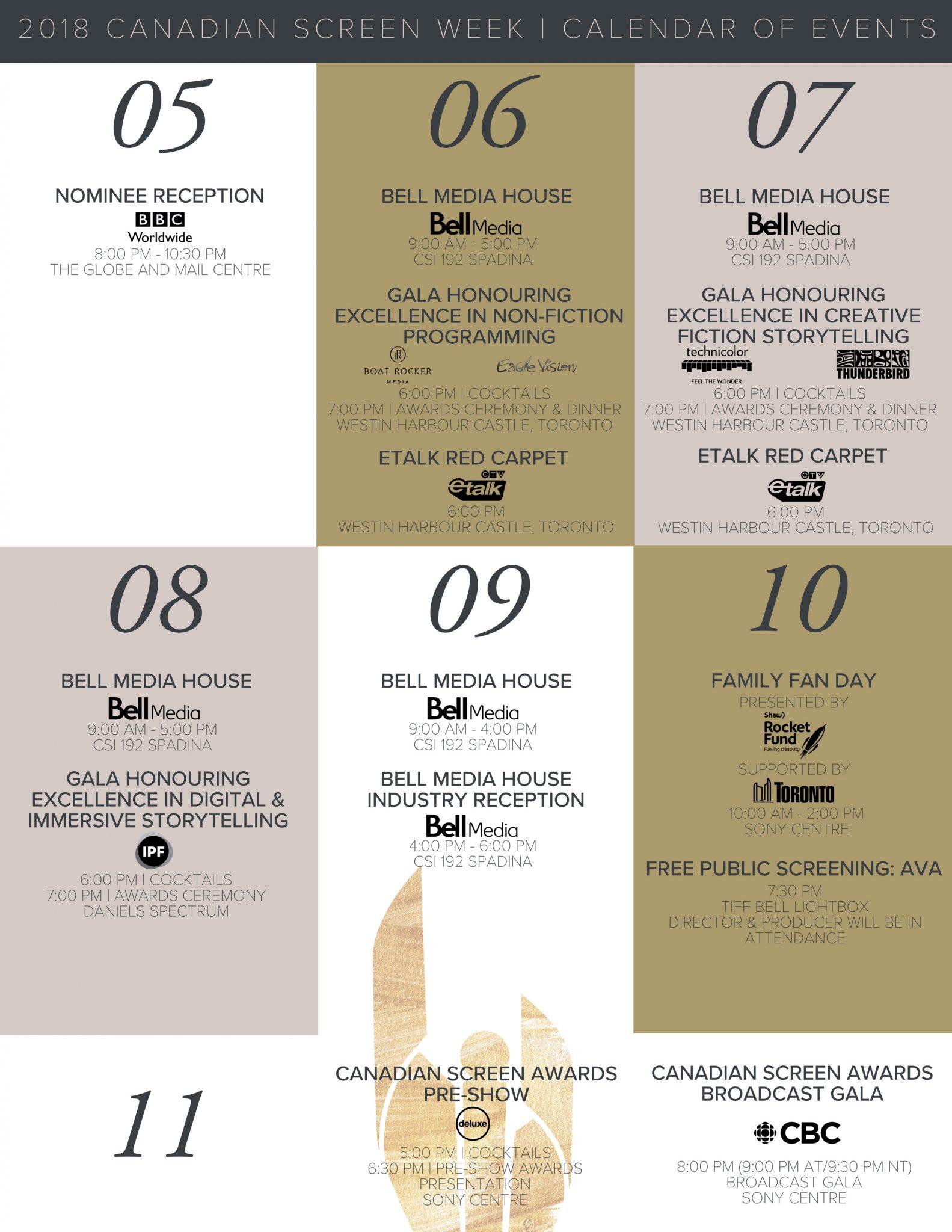 2018 Canadian Screen Week Calendar - Academy ca - Academy ca